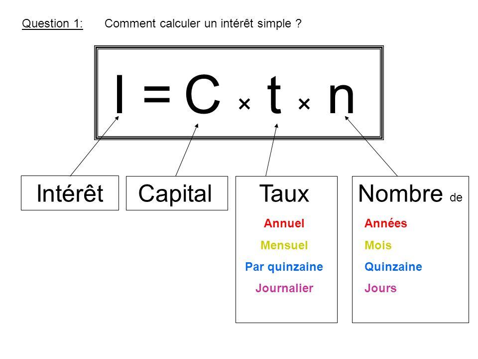 I = Question 1: C × t × n IntérêtCapitalTauxNombre de Années Mois Quinzaine Jours Annuel Mensuel Par quinzaine Journalier Comment calculer un intérêt