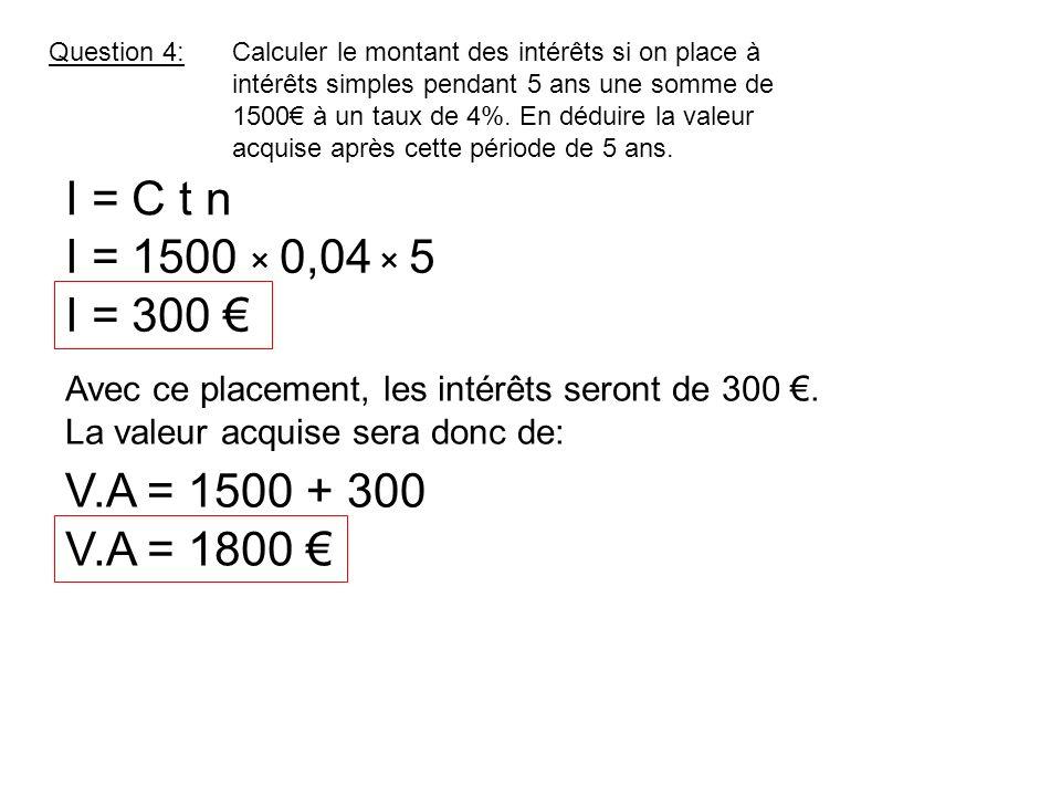 Question 5:Calculer le montant des intérêts si on place 6000 à intérêts simples pendant 8 mois à un taux de 9%.