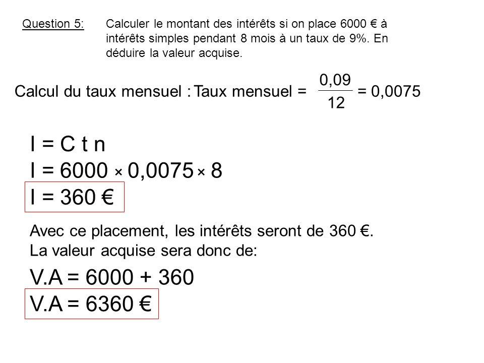 Question 6:Calculer le montant des intérêts si on place 2000 à intérêts simples pendant 53 jours au taux de 4,2%.