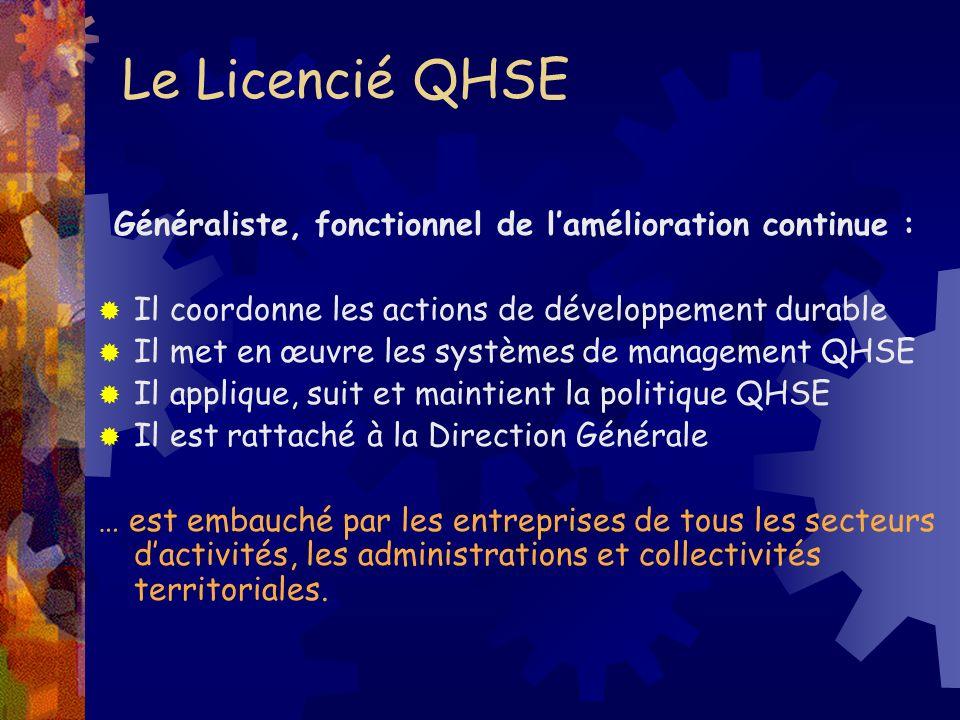 Le Licencié QHSE Il coordonne les actions de développement durable Il met en œuvre les systèmes de management QHSE Il applique, suit et maintient la p