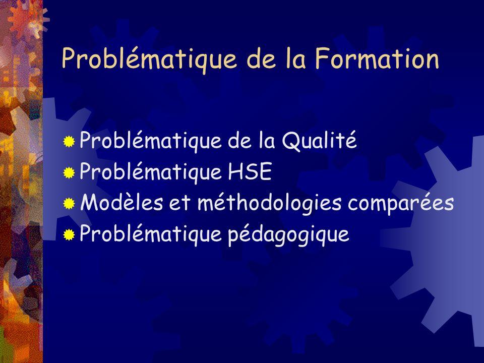 Problématique de la Formation Problématique de la Qualité Problématique HSE Modèles et méthodologies comparées Problématique pédagogique