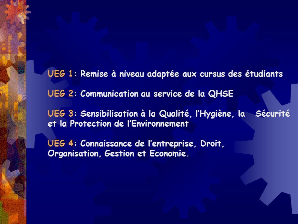 UEG 1: Remise à niveau adaptée aux cursus des étudiants UEG 2: Communication au service de la QHSE UEG 3: Sensibilisation à la Qualité, lHygiène, la S