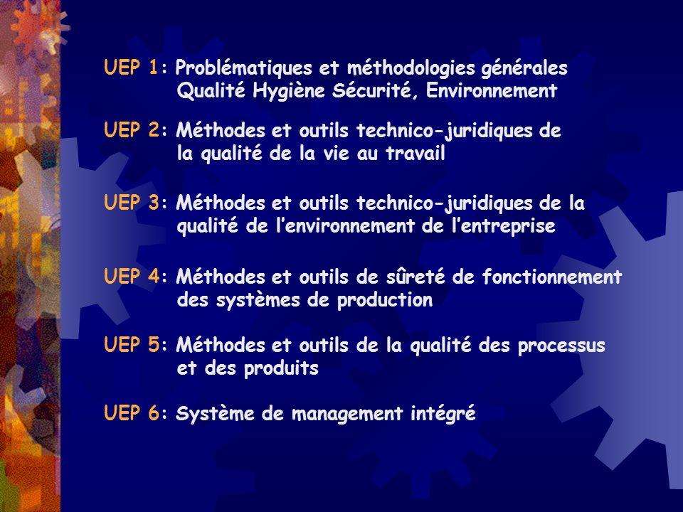 UEP 4: Méthodes et outils de sûreté de fonctionnement des systèmes de production UEP 5: Méthodes et outils de la qualité des processus et des produits