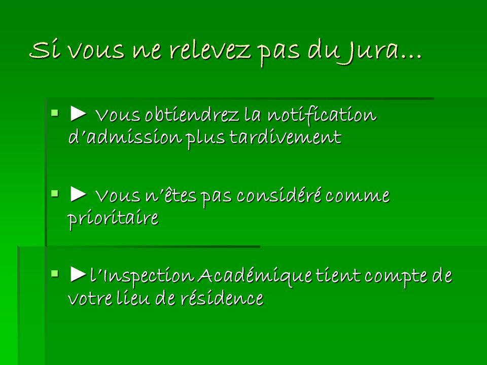 Si vous ne relevez pas du Jura… Vous obtiendrez la notification dadmission plus tardivement Vous obtiendrez la notification dadmission plus tardivemen