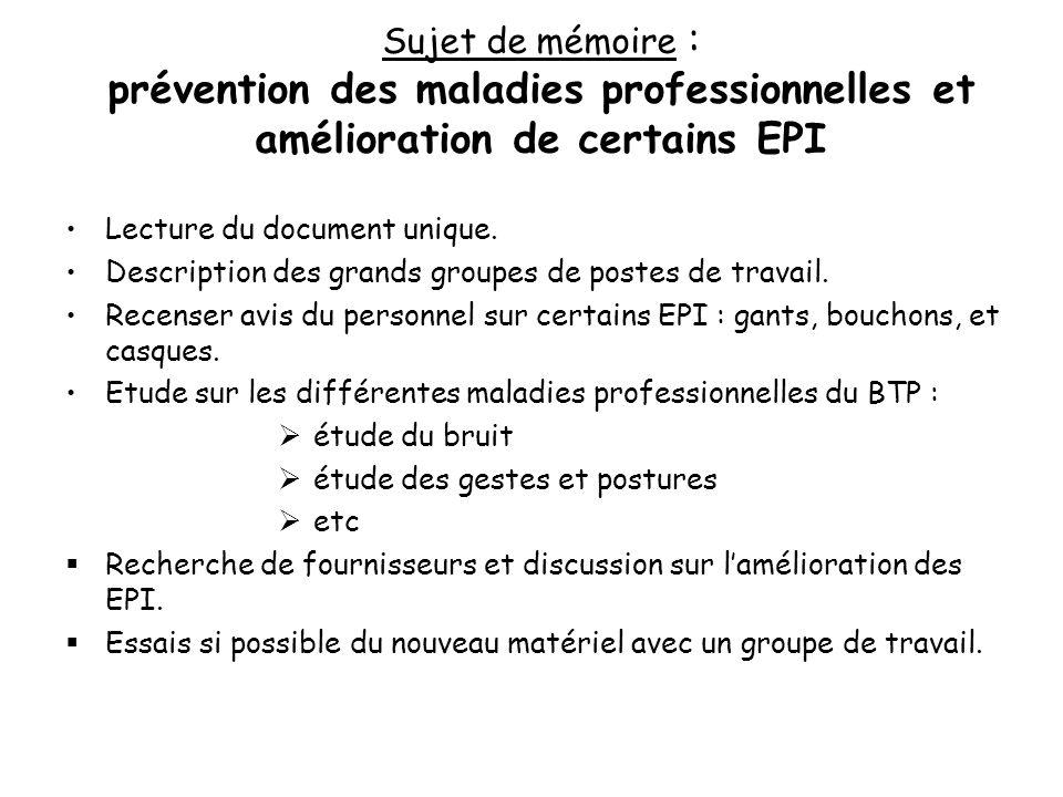 Sujet de mémoire : prévention des maladies professionnelles et amélioration de certains EPI Lecture du document unique. Description des grands groupes