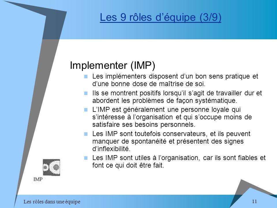 Les rôles dans une équipe 11 Implementer (IMP) Les implémenters disposent dun bon sens pratique et dune bonne dose de maîtrise de soi. Ils se montrent