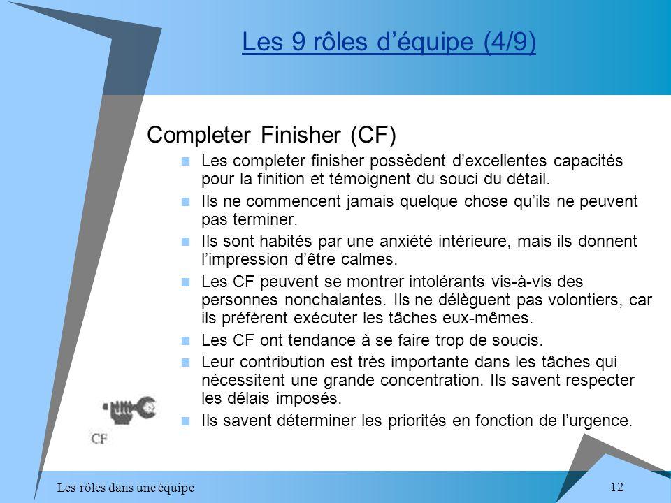 Les rôles dans une équipe 12 Completer Finisher (CF) Les completer finisher possèdent dexcellentes capacités pour la finition et témoignent du souci d
