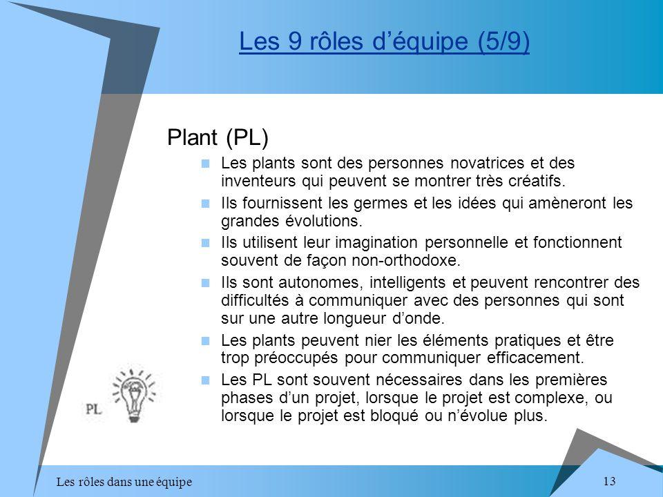 Les rôles dans une équipe 13 Plant (PL) Les plants sont des personnes novatrices et des inventeurs qui peuvent se montrer très créatifs. Ils fournisse