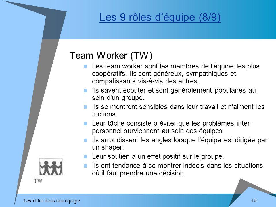 Les rôles dans une équipe 16 Team Worker (TW) Les team worker sont les membres de léquipe les plus coopératifs. Ils sont généreux, sympathiques et com