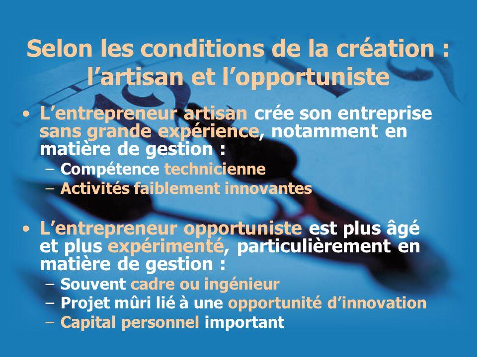 Selon les conditions de la création : lartisan et lopportuniste Lentrepreneur artisan crée son entreprise sans grande expérience, notamment en matière