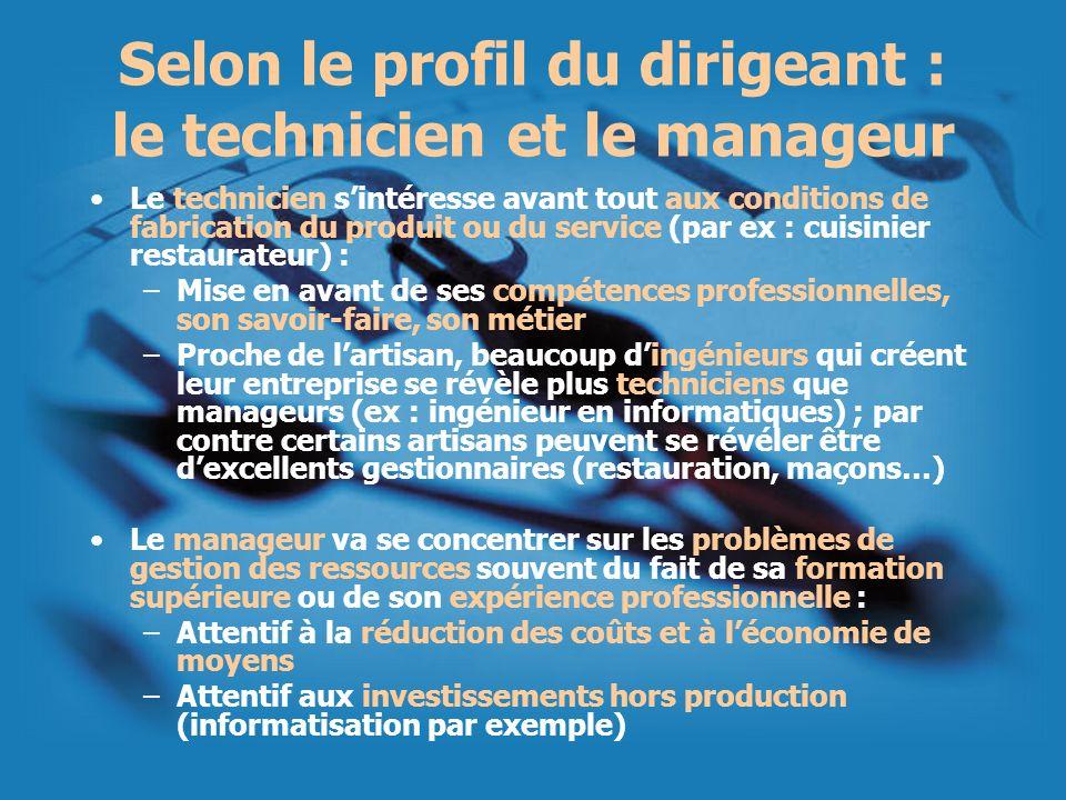 Selon le profil du dirigeant : le technicien et le manageur Le technicien sintéresse avant tout aux conditions de fabrication du produit ou du service