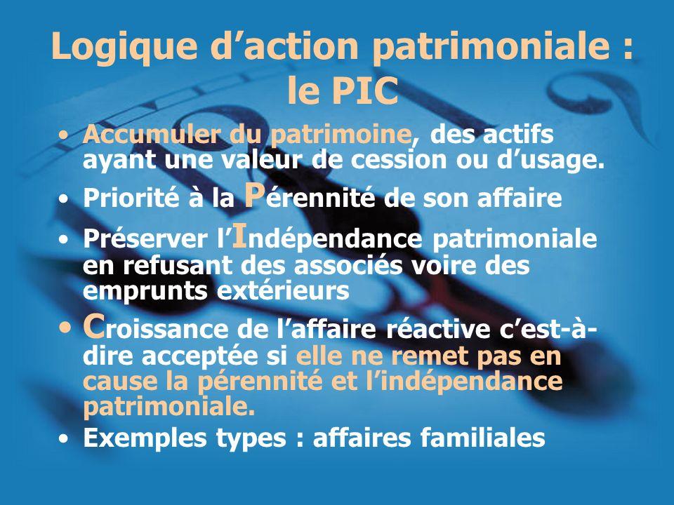Logique daction patrimoniale : le PIC Accumuler du patrimoine, des actifs ayant une valeur de cession ou dusage. Priorité à la P érennité de son affai