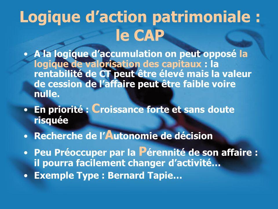 Logique daction patrimoniale : le CAP A la logique daccumulation on peut opposé la logique de valorisation des capitaux : la rentabilité de CT peut êt