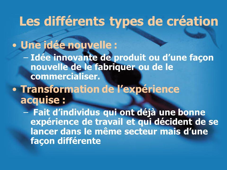 Les différents types de création Une idée nouvelle : –Idée innovante de produit ou dune façon nouvelle de le fabriquer ou de le commercialiser. Transf