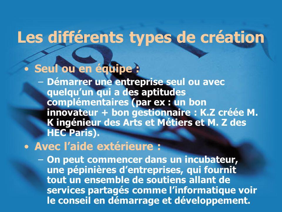 Les différents types de création Seul ou en équipe : –Démarrer une entreprise seul ou avec quelquun qui a des aptitudes complémentaires (par ex : un b
