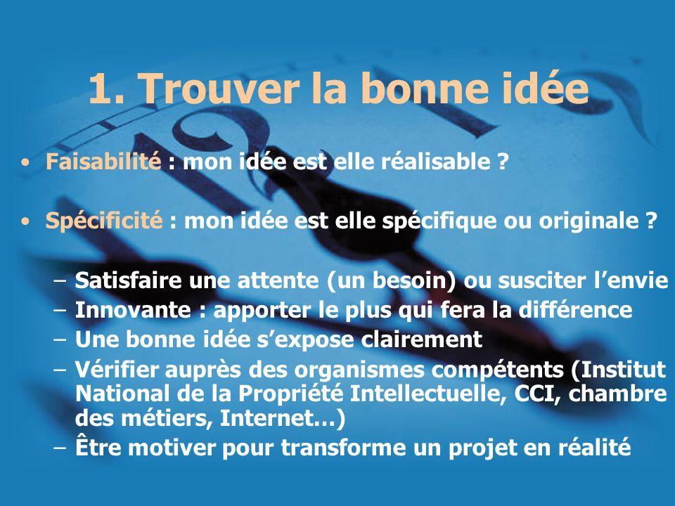 1. Trouver la bonne idée Faisabilité : mon idée est elle réalisable ? Spécificité : mon idée est elle spécifique ou originale ? –Satisfaire une attent