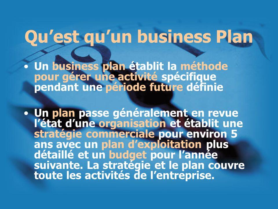 Quest quun business Plan Un business plan établit la méthode pour gérer une activité spécifique pendant une période future définie Un plan passe génér