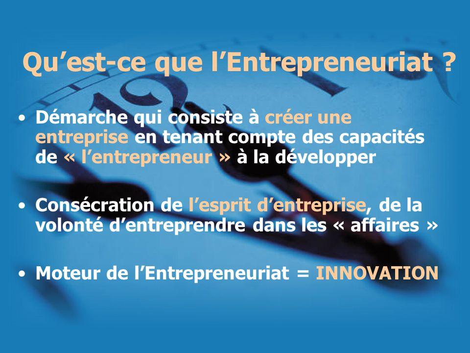 Quest-ce que lEntrepreneuriat ? Démarche qui consiste à créer une entreprise en tenant compte des capacités de « lentrepreneur » à la développer Consé