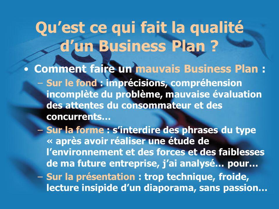 Quest ce qui fait la qualité dun Business Plan ? Comment faire un mauvais Business Plan : –Sur le fond : imprécisions, compréhension incomplète du pro