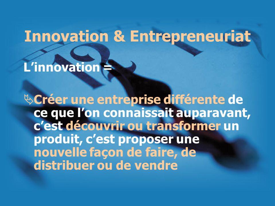 Innovation & Entrepreneuriat Linnovation = Créer une entreprise différente de ce que lon connaissait auparavant, cest découvrir ou transformer un prod