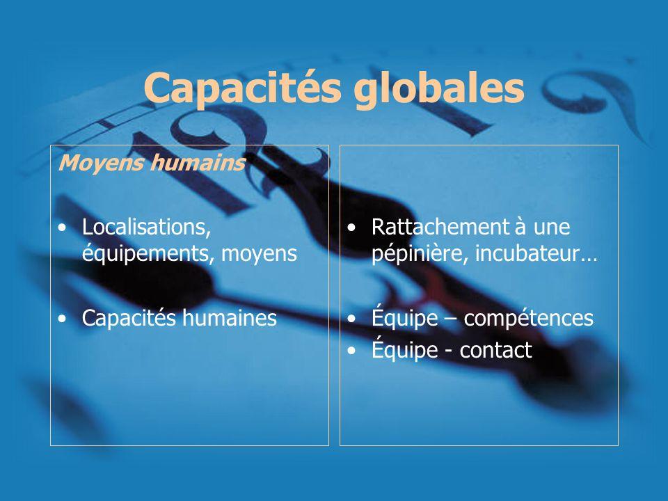 Capacités globales Moyens humains Localisations, équipements, moyens Capacités humaines Rattachement à une pépinière, incubateur… Équipe – compétences