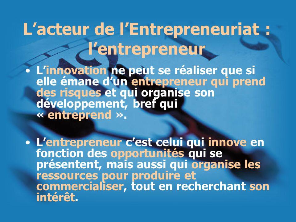 Lacteur de lEntrepreneuriat : lentrepreneur Linnovation ne peut se réaliser que si elle émane dun entrepreneur qui prend des risques et qui organise s
