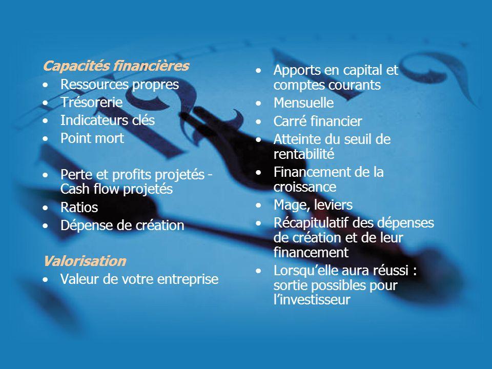 Capacités financières Ressources propres Trésorerie Indicateurs clés Point mort Perte et profits projetés - Cash flow projetés Ratios Dépense de créat