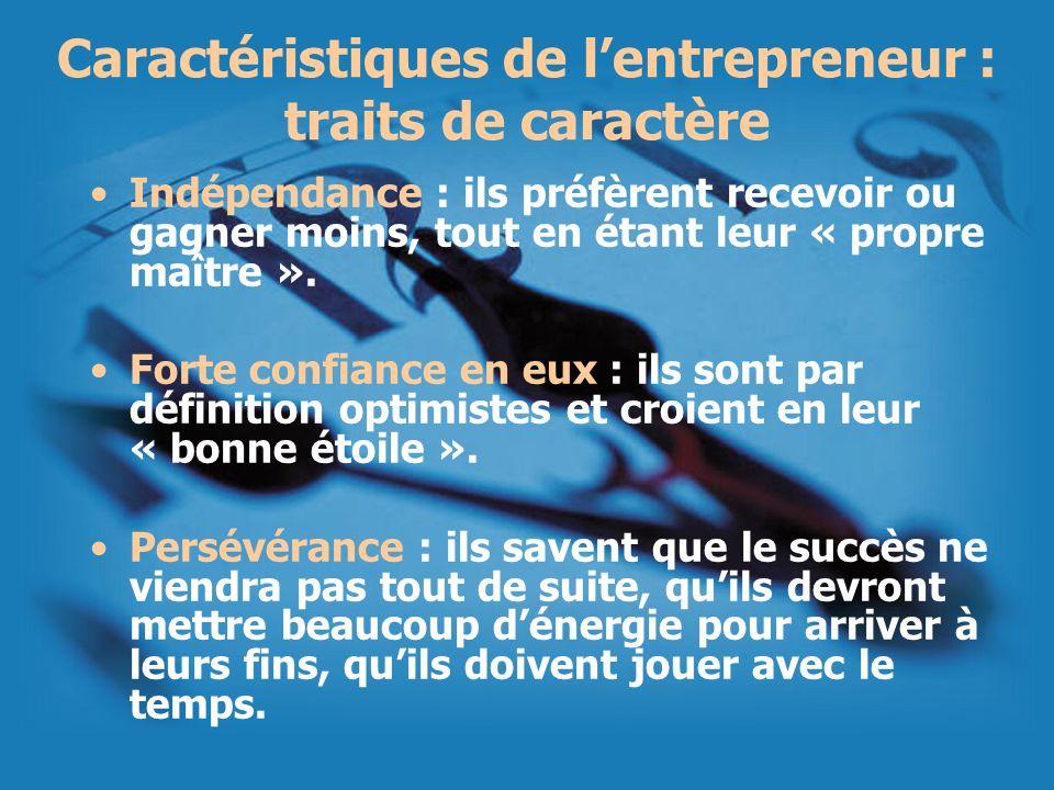 Caractéristiques de lentrepreneur : traits de caractère Indépendance : ils préfèrent recevoir ou gagner moins, tout en étant leur « propre maître ». F