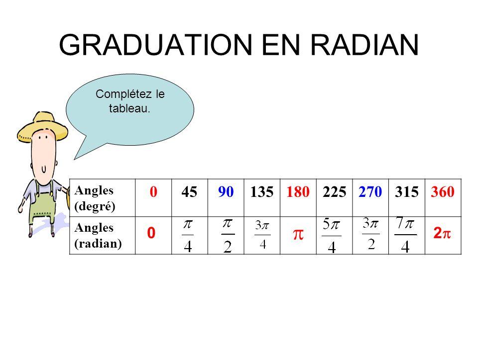 GRADUATION EN RADIAN Complétez le tableau. Angles (degré) 04590135180225270315360 Angles (radian) 0 2