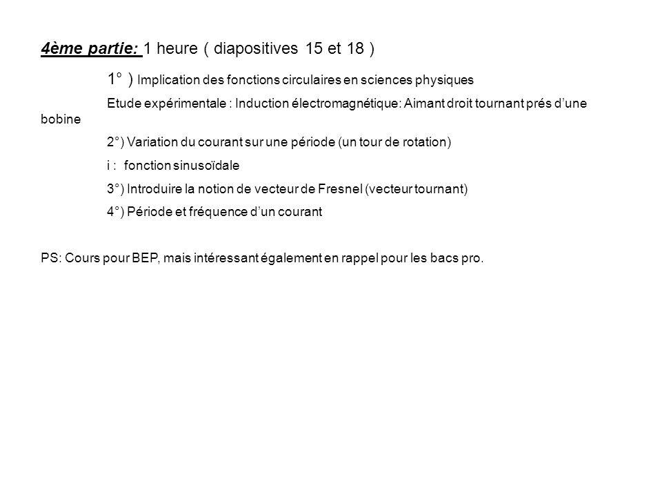 4ème partie: 1 heure ( diapositives 15 et 18 ) 1° ) Implication des fonctions circulaires en sciences physiques Etude expérimentale : Induction électr