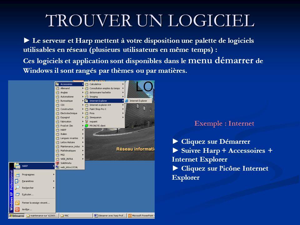 TROUVER UN LOGICIEL Le serveur et Harp mettent à votre disposition une palette de logiciels utilisables en réseau (plusieurs utilisateurs en même temp
