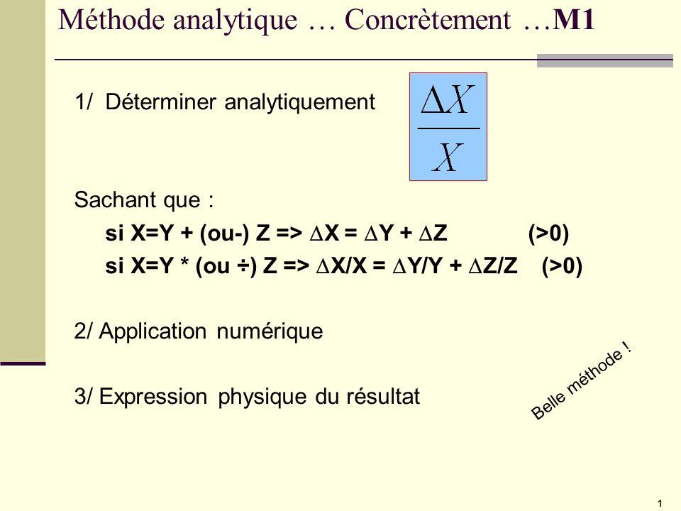 1 Méthode analytique … Concrètement …M1 1/ Déterminer analytiquement Sachant que : si X=Y + (ou-) Z => X = Y + Z (>0) si X=Y * (ou ÷) Z => X/X = Y/Y +