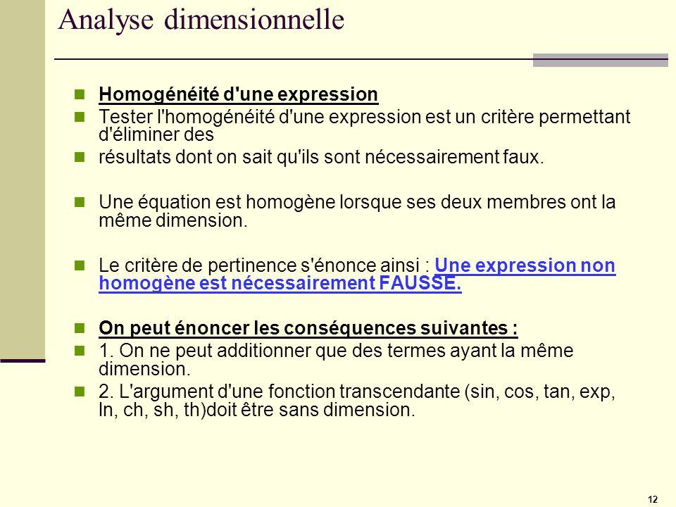 12 Analyse dimensionnelle Homogénéité d'une expression Tester l'homogénéité d'une expression est un critère permettant d'éliminer des résultats dont o