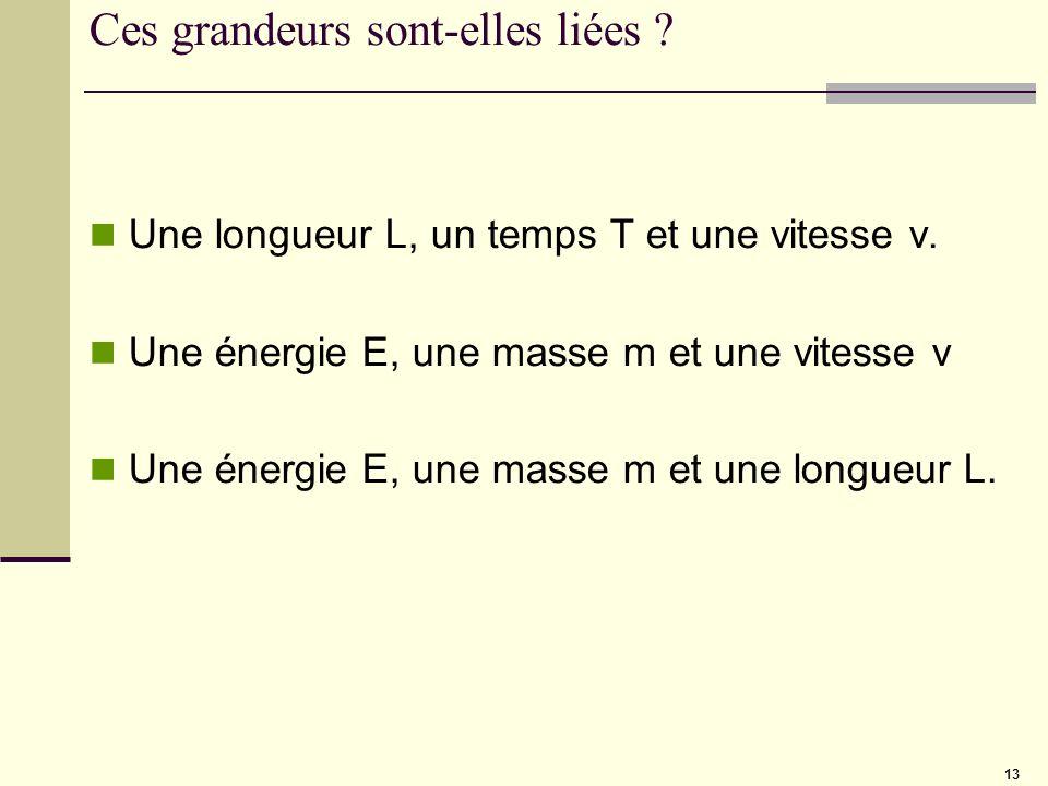 13 Ces grandeurs sont-elles liées ? Une longueur L, un temps T et une vitesse v. Une énergie E, une masse m et une vitesse v Une énergie E, une masse