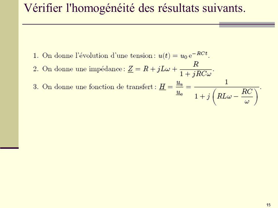 15 Vérifier l'homogénéité des résultats suivants.