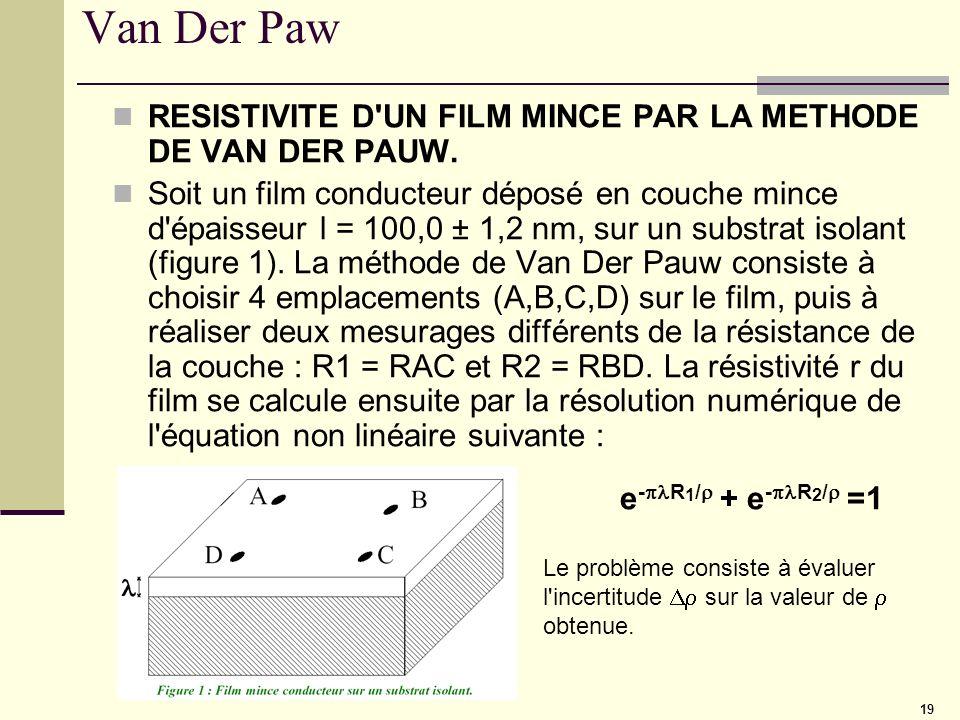 19 Van Der Paw RESISTIVITE D'UN FILM MINCE PAR LA METHODE DE VAN DER PAUW. Soit un film conducteur déposé en couche mince d'épaisseur l = 100,0 ± 1,2