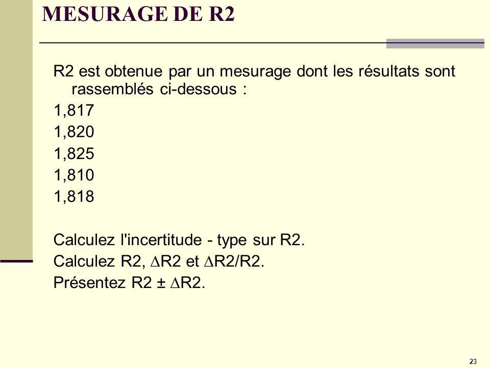 23 MESURAGE DE R2 R2 est obtenue par un mesurage dont les résultats sont rassemblés ci-dessous : 1,817 1,820 1,825 1,810 1,818 Calculez l'incertitude