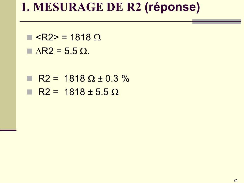 24 1. MESURAGE DE R2 (réponse) = 1818 R2 = 5.5. R2 = 1818 ± 0.3 % R2 = 1818 ± 5.5