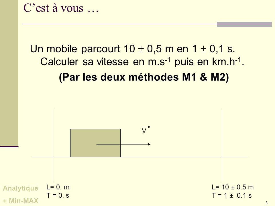 3 Cest à vous … Un mobile parcourt 10 0,5 m en 1 0,1 s. Calculer sa vitesse en m.s -1 puis en km.h -1. (Par les deux méthodes M1 & M2) L= 0. m T = 0.