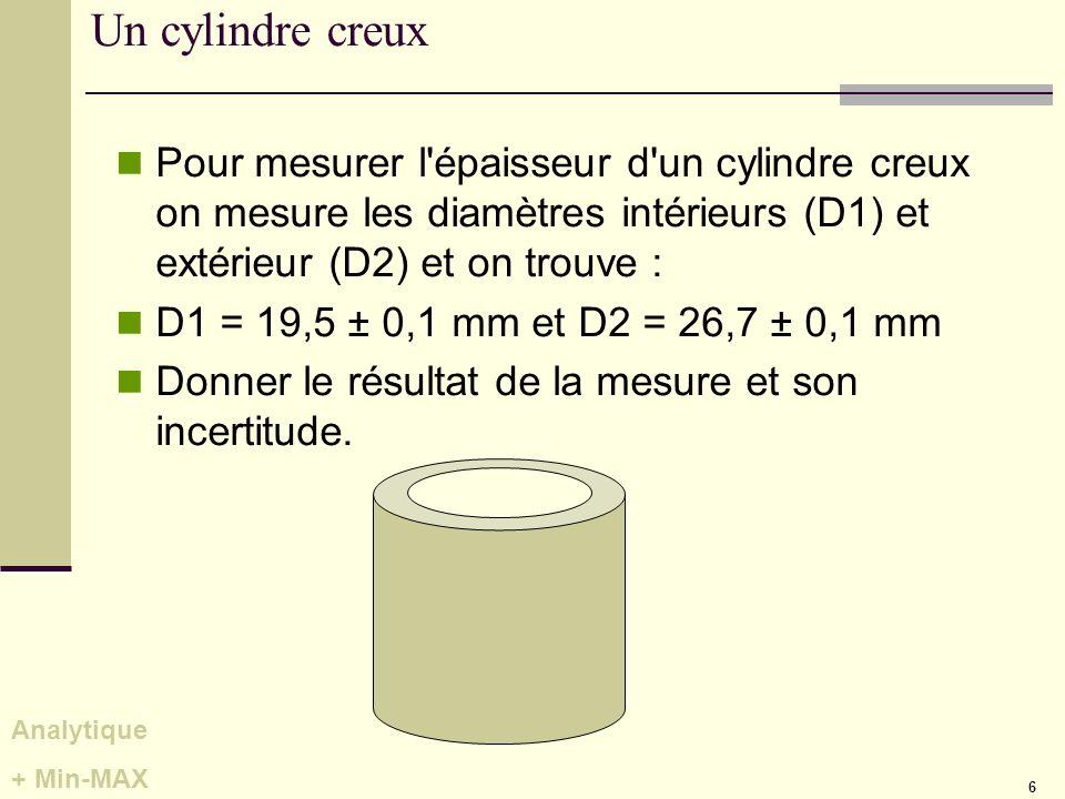 6 Un cylindre creux Pour mesurer l'épaisseur d'un cylindre creux on mesure les diamètres intérieurs (D1) et extérieur (D2) et on trouve : D1 = 19,5 ±