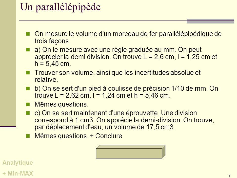 7 Un parallélépipède On mesure le volume d'un morceau de fer parallélépipédique de trois façons. a) On le mesure avec une règle graduée au mm. On peut