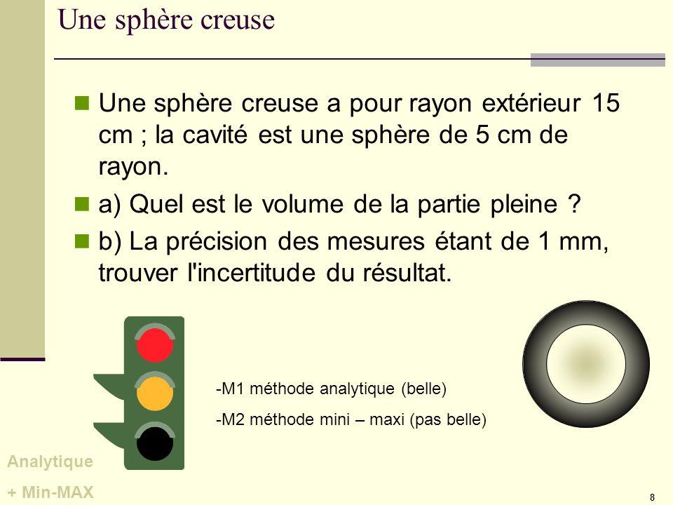 8 Une sphère creuse Une sphère creuse a pour rayon extérieur 15 cm ; la cavité est une sphère de 5 cm de rayon. a) Quel est le volume de la partie ple