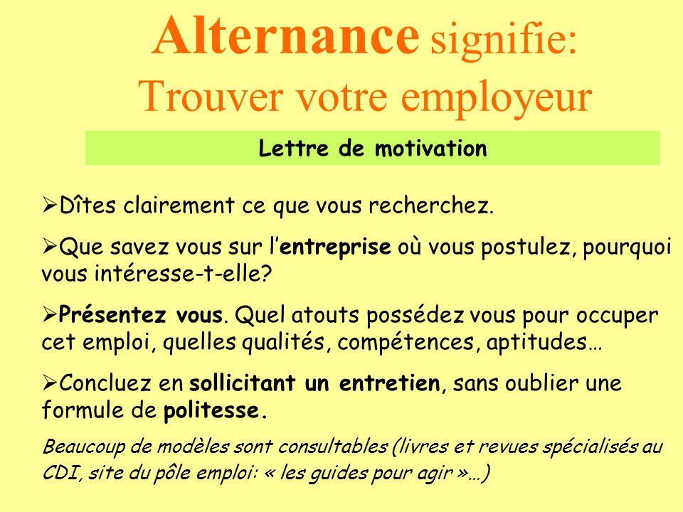 Alternance signifie: Trouver votre employeur Lettre de motivation Dîtes clairement ce que vous recherchez. Que savez vous sur lentreprise où vous post