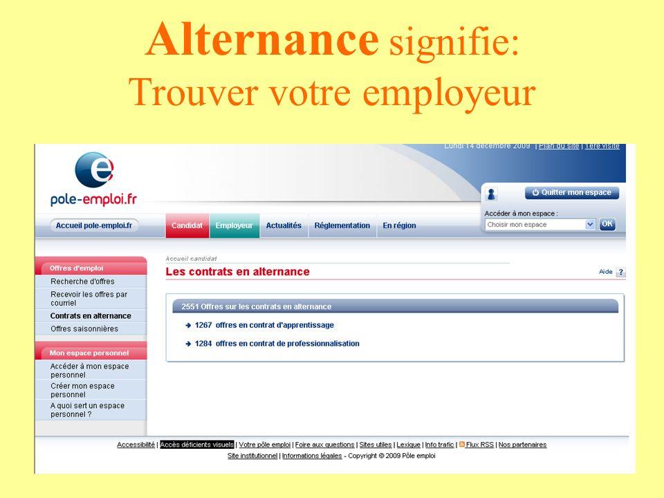 Alternance signifie: Trouver votre employeur