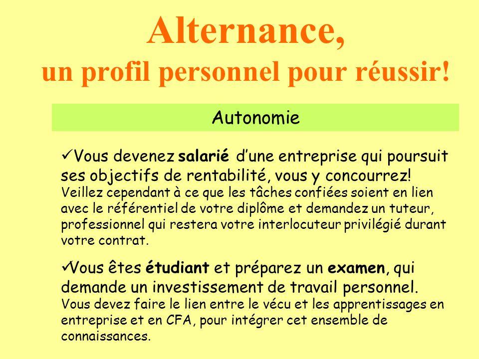Alternance, un profil personnel pour réussir! Autonomie Vous devenez salarié dune entreprise qui poursuit ses objectifs de rentabilité, vous y concour