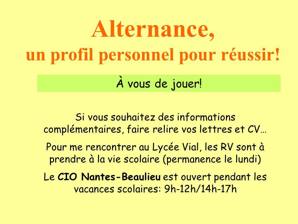 Alternance, un profil personnel pour réussir! Si vous souhaitez des informations complémentaires, faire relire vos lettres et CV… Pour me rencontrer a