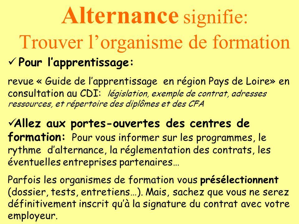 Pour lapprentissage: revue « Guide de lapprentissage en région Pays de Loire» en consultation au CDI: législation, exemple de contrat, adresses ressou