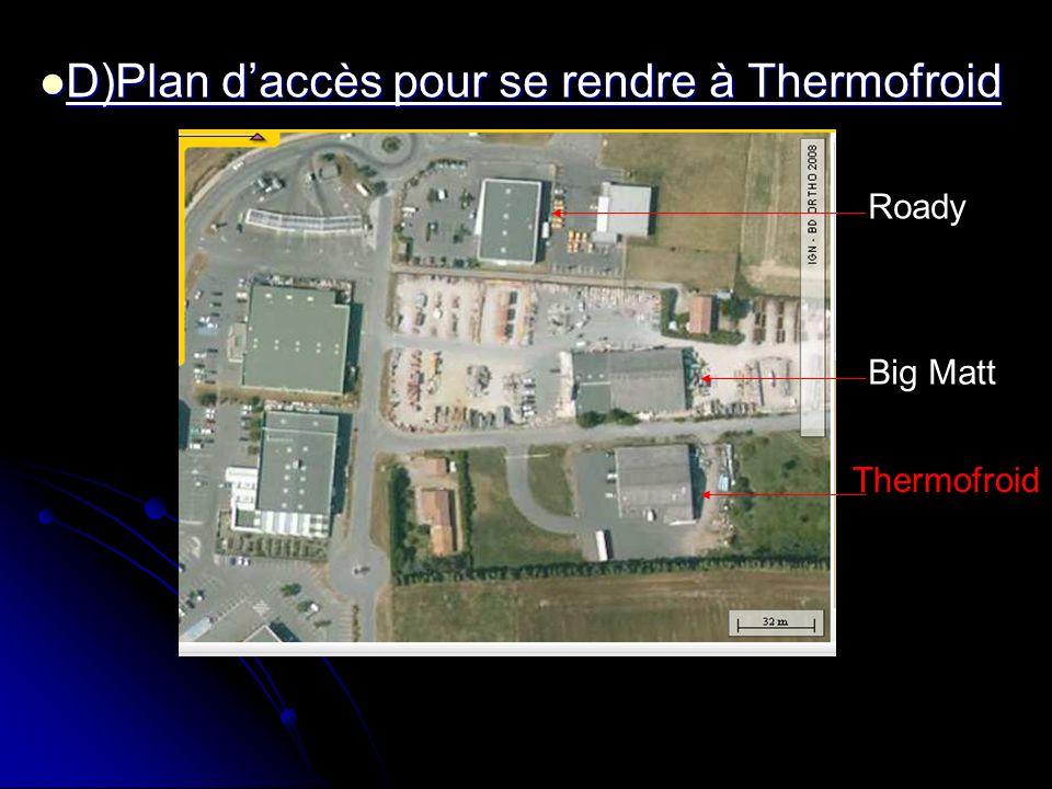 Roady Big Matt Thermofroid D)Plan daccès pour se rendre à Thermofroid D)Plan daccès pour se rendre à Thermofroid