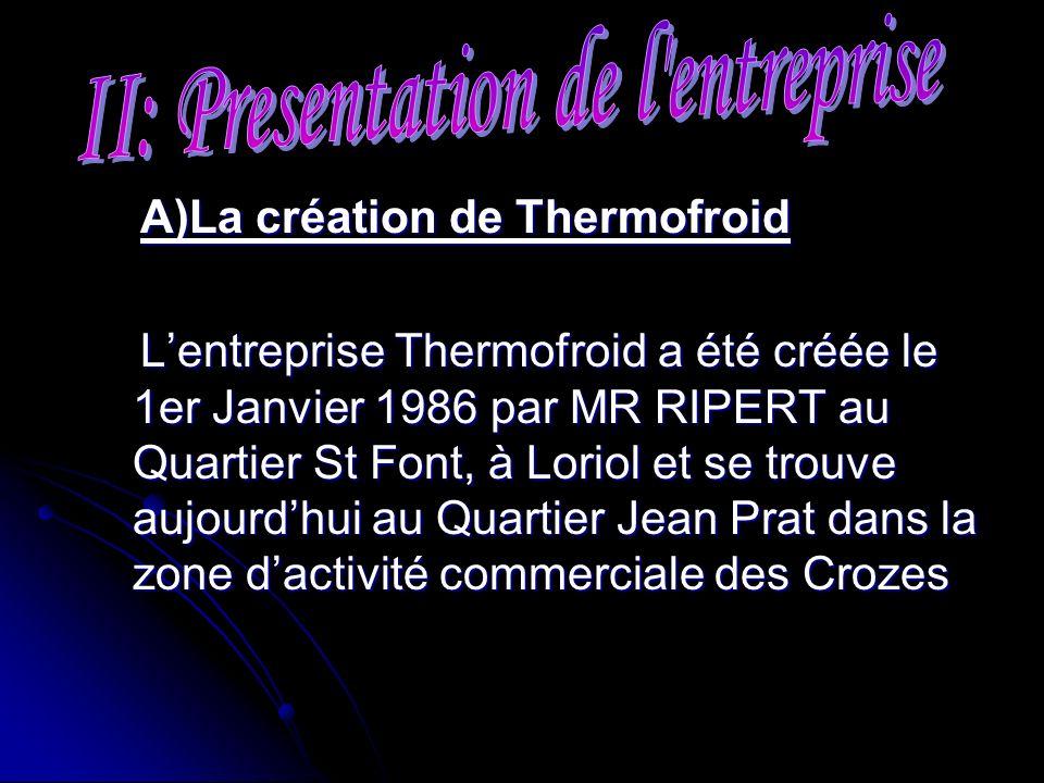 A)La création de Thermofroid A)La création de Thermofroid Lentreprise Thermofroid a été créée le 1er Janvier 1986 par MR RIPERT au Quartier St Font, à