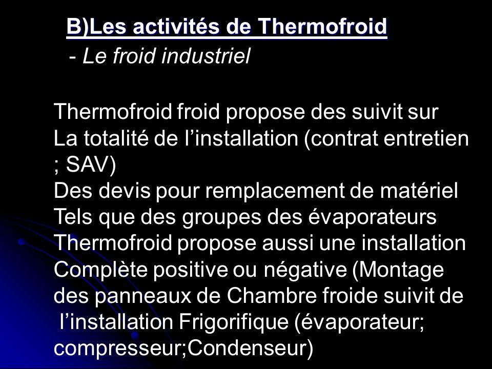 B)Les activités de Thermofroid B)Les activités de Thermofroid - Le froid industriel Thermofroid froid propose des suivit sur La totalité de linstallat